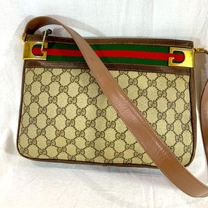 70's GUCCI Rare Brown Canvas and Leather Trim